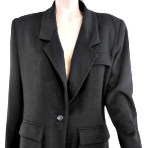 Anne Klein Black Single Button Wool Blazer Size:8